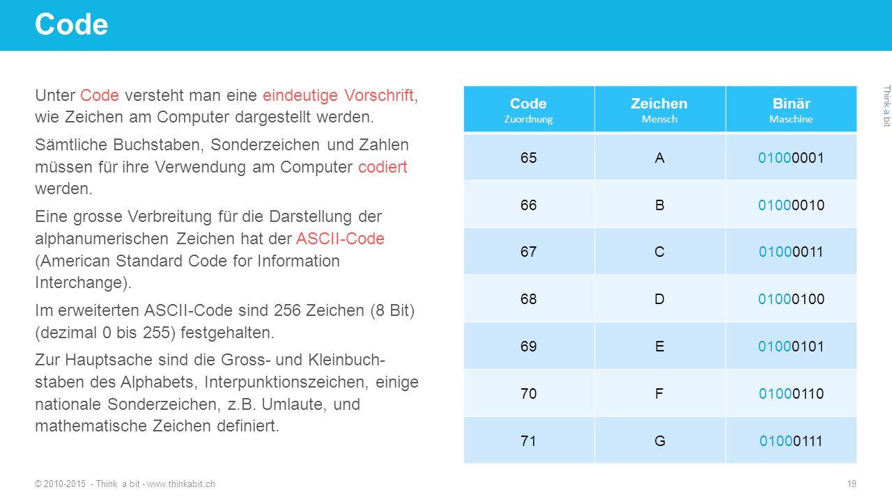Code Unter Code versteht man eine eindeutige Vorschrift, wie Zeichen am Computer dargestellt werden.