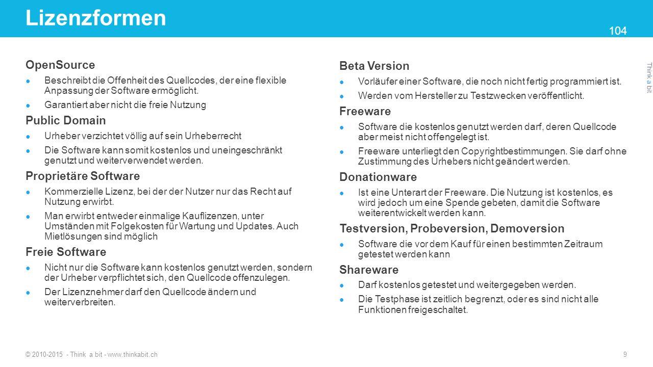 Tastenkombinationen © 2010-2015 - Think a bit - www.thinkabit.ch 10 Windows Taste Alternate Graphic – Alternativer Schriftsatz 29 – 30 Wichtige Tastenkombinationen finden Sie auf Seite 30