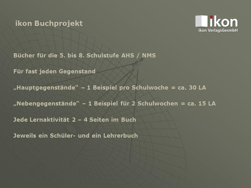 """ikon Buchprojekt Bücher für die 5. bis 8. Schulstufe AHS / NMS Für fast jeden Gegenstand """"Hauptgegenstände"""" – 1 Beispiel pro Schulwoche = ca. 30 LA """"N"""