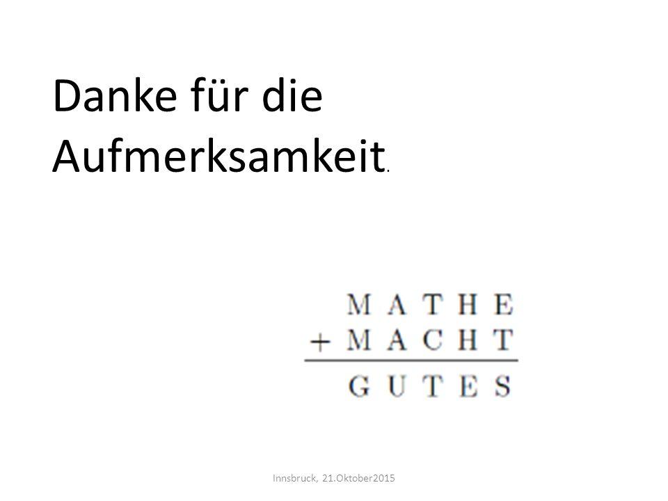 Innsbruck, 21.Oktober2015 Danke für die Aufmerksamkeit.