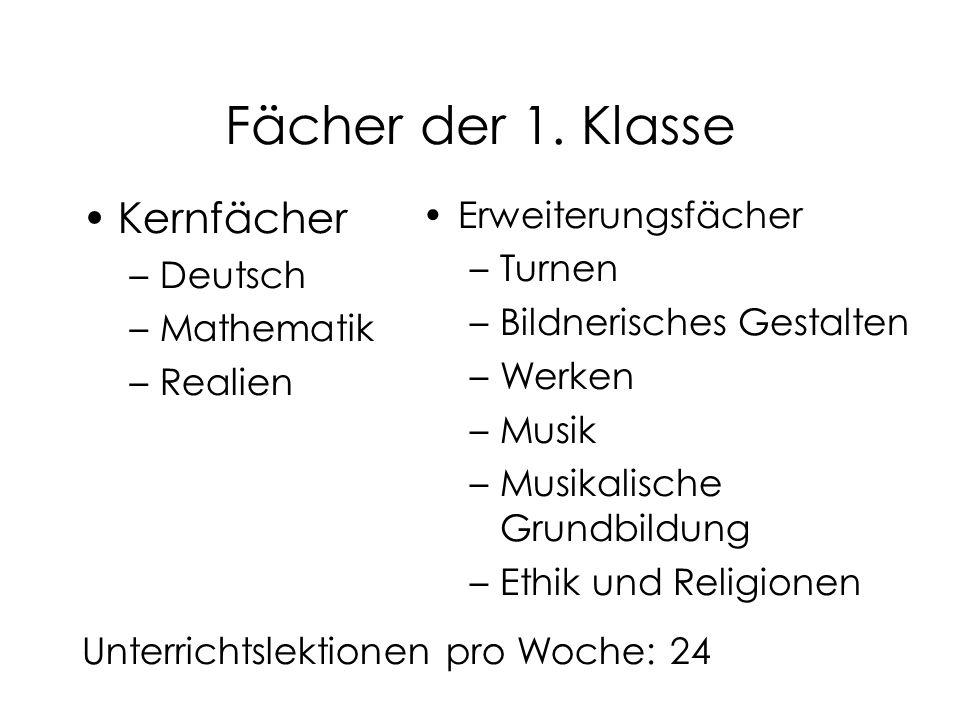 Fächer der 1. Klasse Kernfächer –Deutsch –Mathematik –Realien Unterrichtslektionen pro Woche: 24 Erweiterungsfächer –Turnen –Bildnerisches Gestalten –