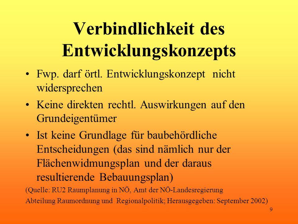 9 Verbindlichkeit des Entwicklungskonzepts Fwp. darf örtl.