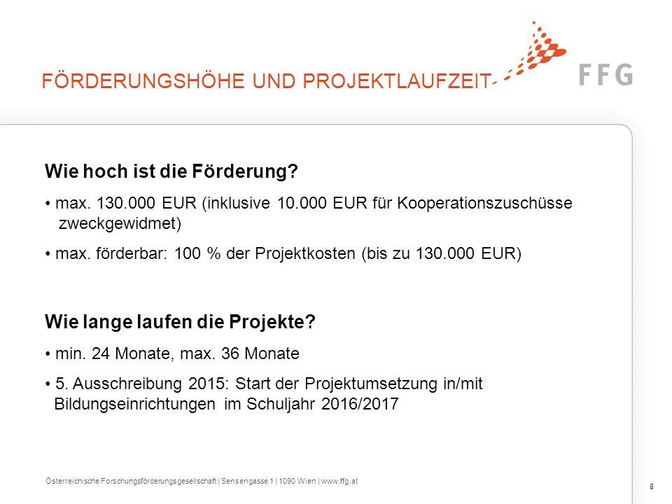 FÖRDERUNGSHÖHE UND PROJEKTLAUFZEIT Wie hoch ist die Förderung? max. 130.000 EUR (inklusive 10.000 EUR für Kooperationszuschüsse zweckgewidmet) max. fö