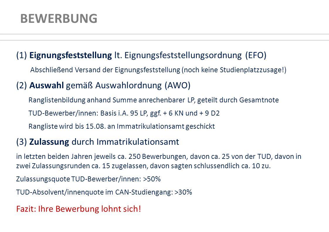 (1) Eignungsfeststellung lt. Eignungsfeststellungsordnung (EFO) Abschließend Versand der Eignungsfeststellung (noch keine Studienplatzzusage!) (2) Aus