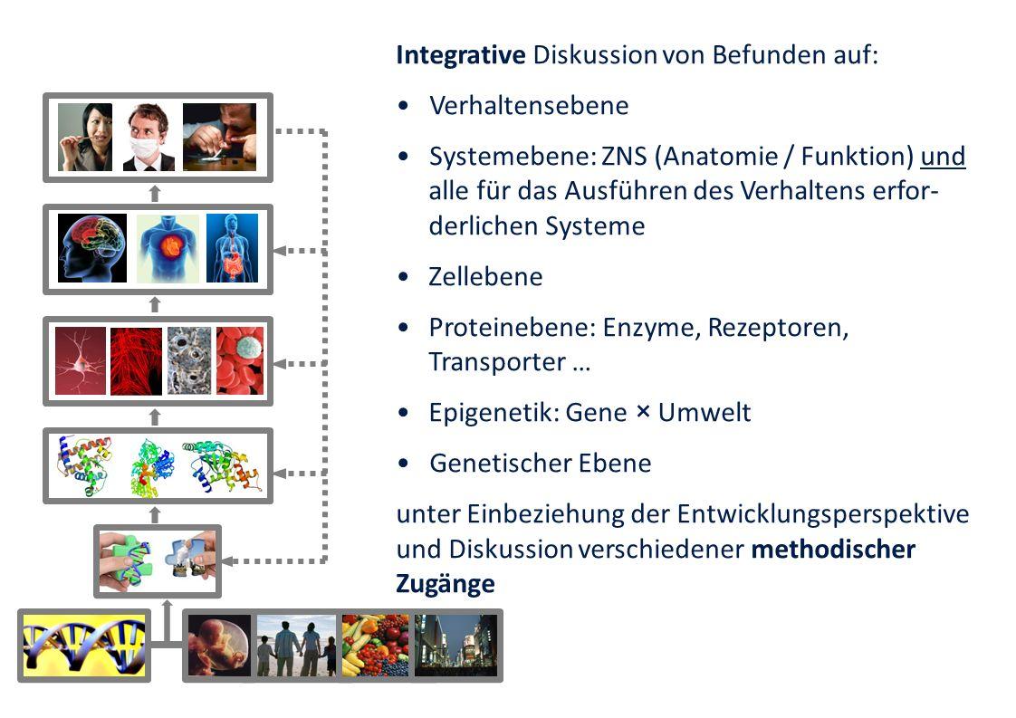 Integrative Diskussion von Befunden auf: Verhaltensebene Systemebene: ZNS (Anatomie / Funktion) und alle für das Ausführen des Verhaltens erfor- derli
