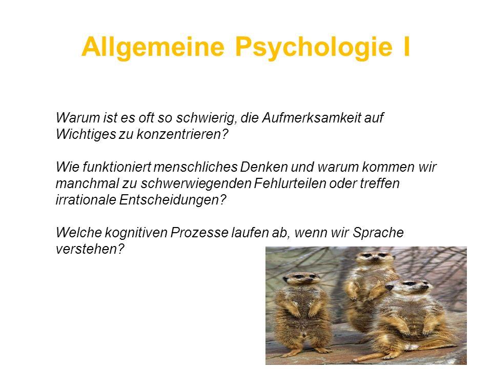 Allgemeine Psychologie I Warum ist es oft so schwierig, die Aufmerksamkeit auf Wichtiges zu konzentrieren? Wie funktioniert menschliches Denken und wa
