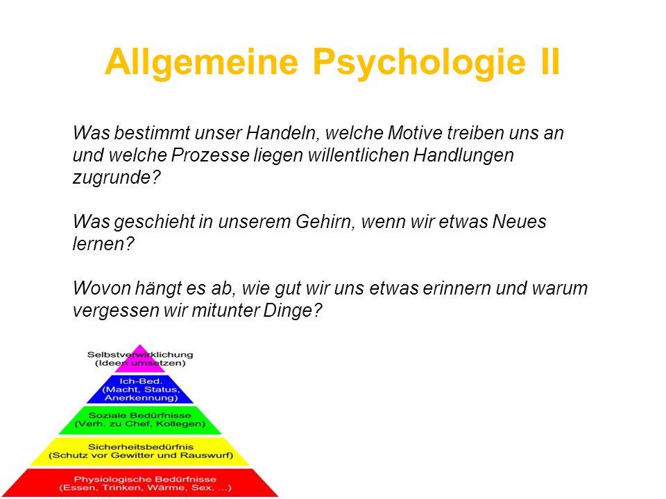 Allgemeine Psychologie II Was bestimmt unser Handeln, welche Motive treiben uns an und welche Prozesse liegen willentlichen Handlungen zugrunde? Was g