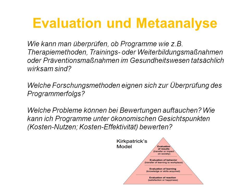 Evaluation und Metaanalyse Wie kann man überprüfen, ob Programme wie z.B. Therapiemethoden, Trainings- oder Weiterbildungsmaßnahmen oder Präventionsma