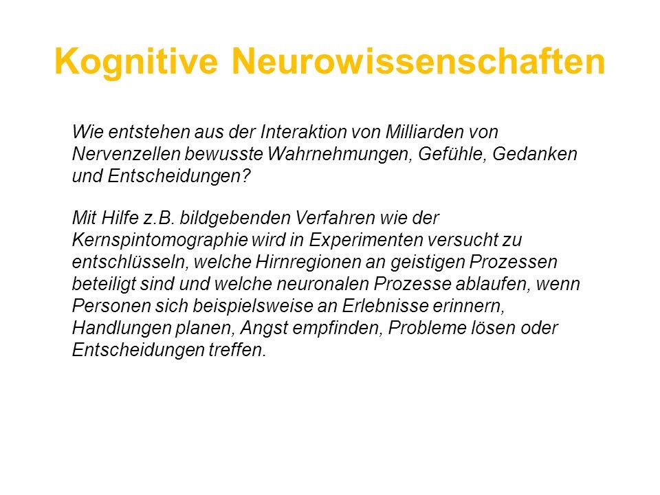 Kognitive Neurowissenschaften Wie entstehen aus der Interaktion von Milliarden von Nervenzellen bewusste Wahrnehmungen, Gefühle, Gedanken und Entschei