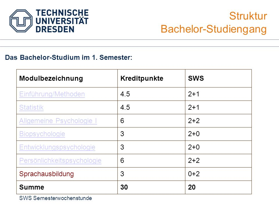 Struktur Bachelor-Studiengang Das Bachelor-Studium im 1. Semester: ModulbezeichnungKreditpunkteSWS Einführung/Methoden4.52+1 Statistik4.52+1 Allgemein