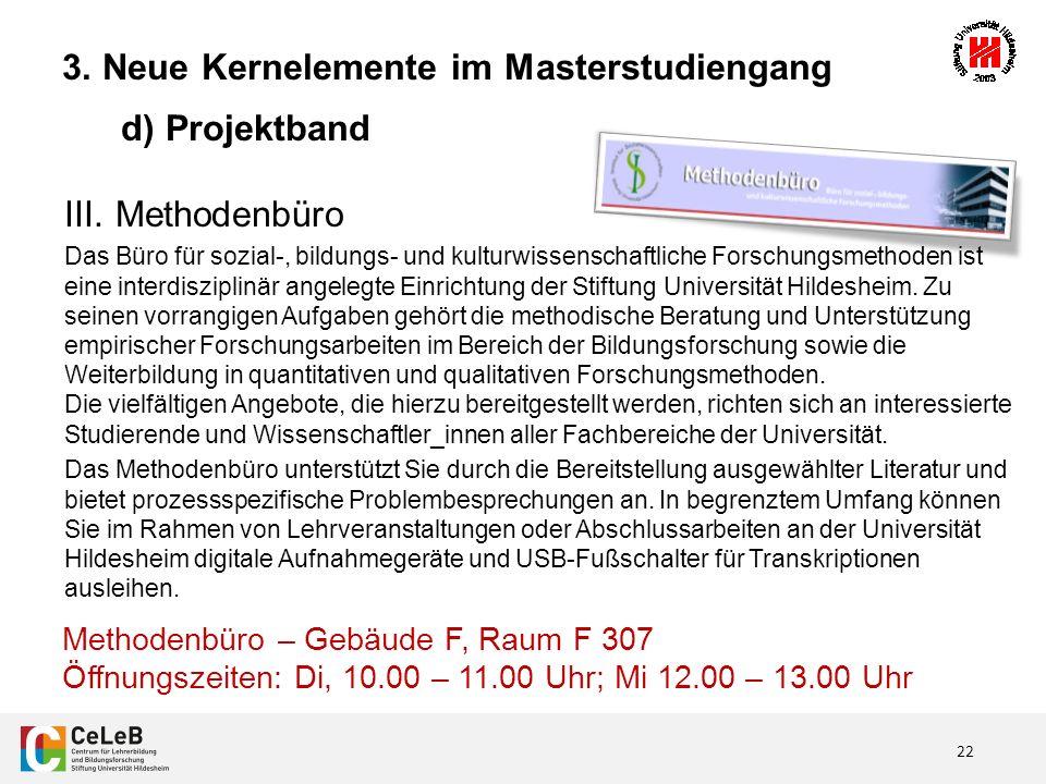 22 3. Neue Kernelemente im Masterstudiengang d) Projektband III.