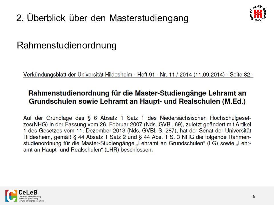 6 Rahmenstudienordnung 2. Überblick über den Masterstudiengang