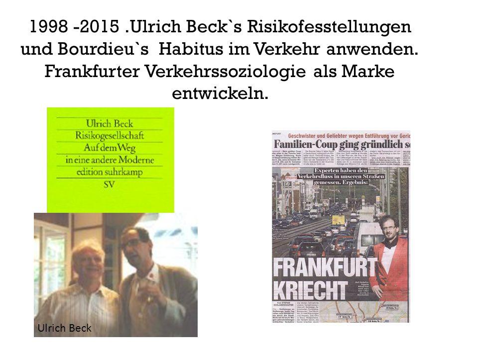 1998 -2015.Ulrich Beck`s Risikofesstellungen und Bourdieu`s Habitus im Verkehr anwenden.