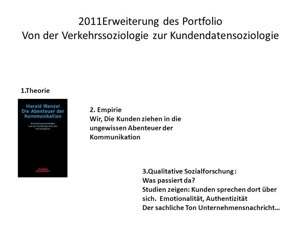 2011Erweiterung des Portfolio Von der Verkehrssoziologie zur Kundendatensoziologie 1.Theorie 2.