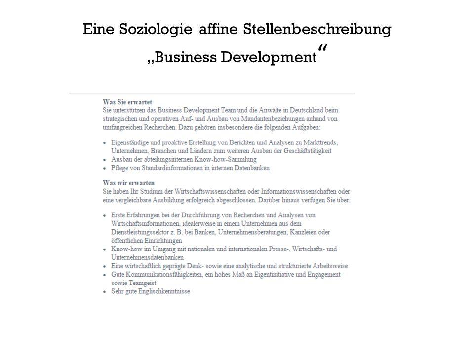 """Eine Soziologie affine Stellenbeschreibung """"Business Development"""
