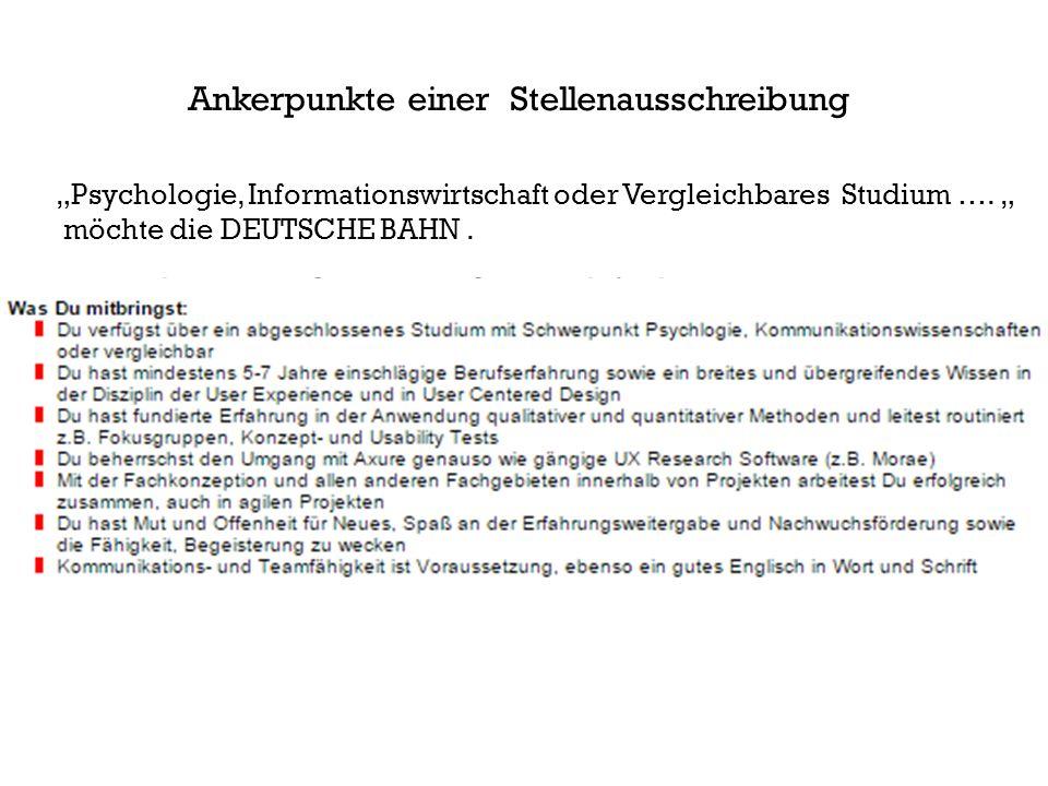 """""""Psychologie, Informationswirtschaft oder Vergleichbares Studium …."""