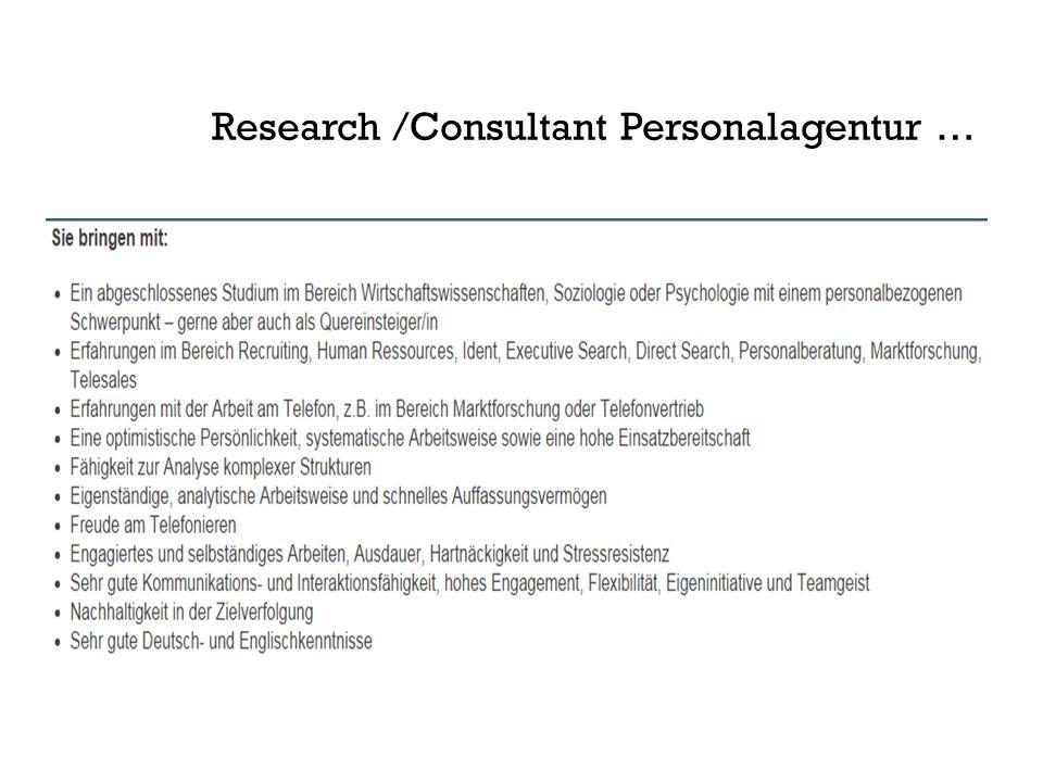 Research /Consultant Personalagentur …