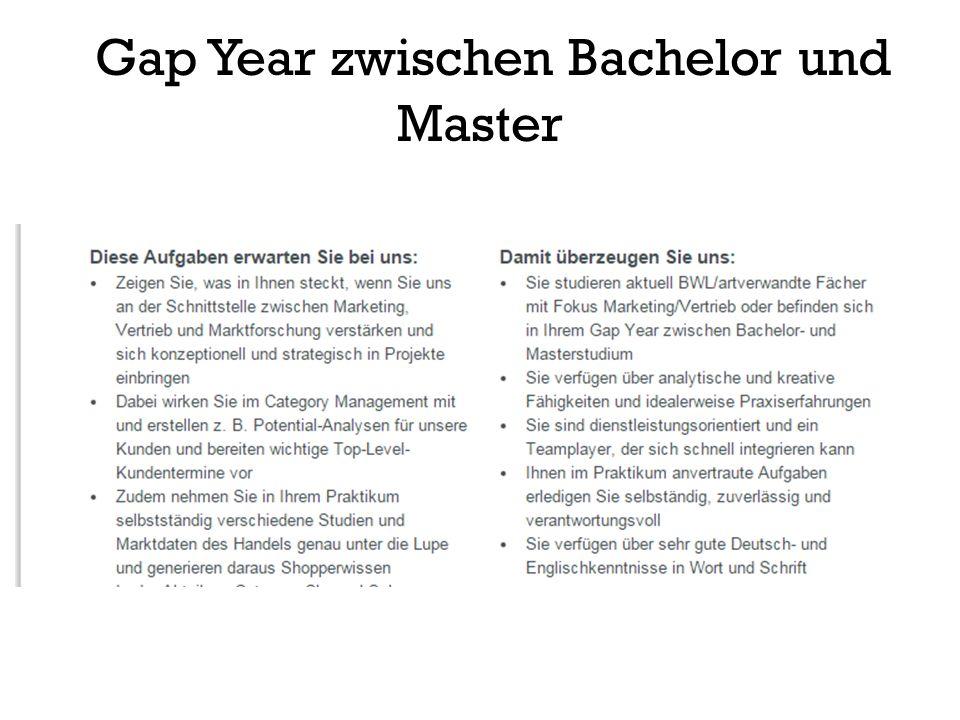 Gap Year zwischen Bachelor und Master