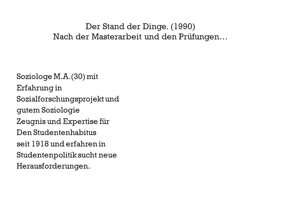 Fragen über Fragen … (1990) Weiter mit der Projektarbeit.
