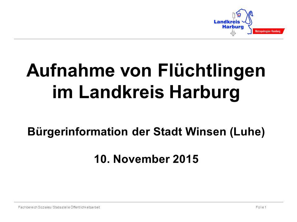 Fachbereich Soziales / Stabsstelle Öffentlichkeitsarbeit Folie 1 Aufnahme von Flüchtlingen im Landkreis Harburg Bürgerinformation der Stadt Winsen (Luhe) 10.