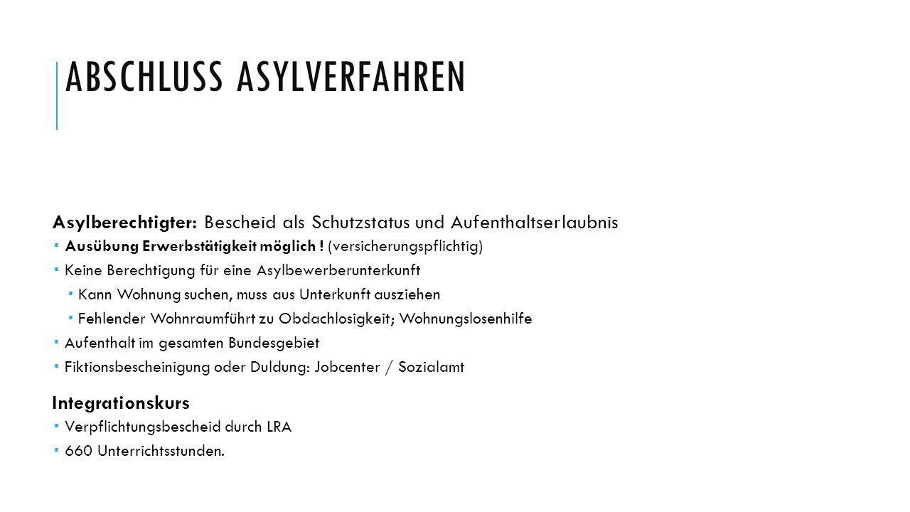 ABSCHLUSS ASYLVERFAHREN Asylberechtigter: Bescheid als Schutzstatus und Aufenthaltserlaubnis  Ausübung Erwerbstätigkeit möglich ! (versicherungspflic