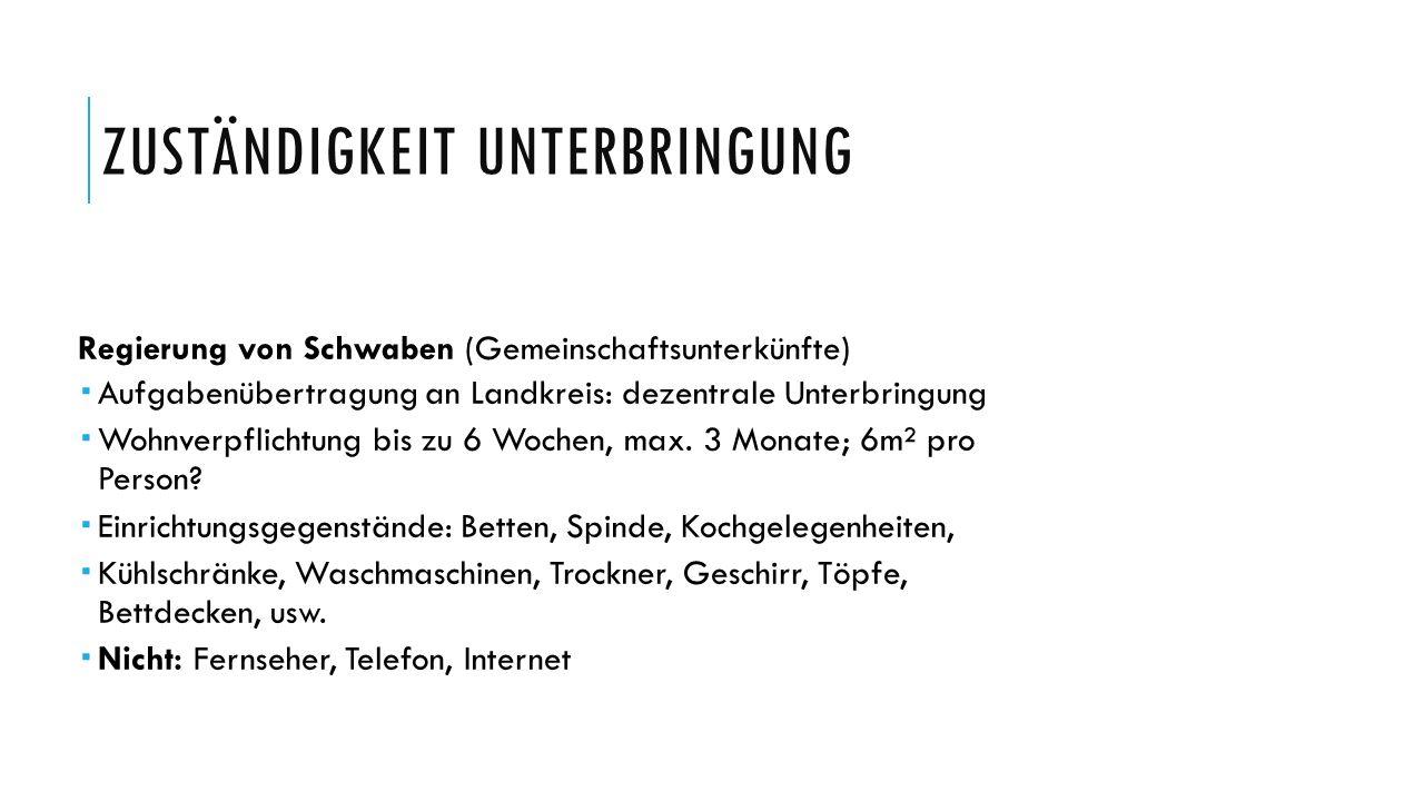 ZUSTÄNDIGKEIT UNTERBRINGUNG Regierung von Schwaben (Gemeinschaftsunterkünfte)  Aufgabenübertragung an Landkreis: dezentrale Unterbringung  Wohnverpf