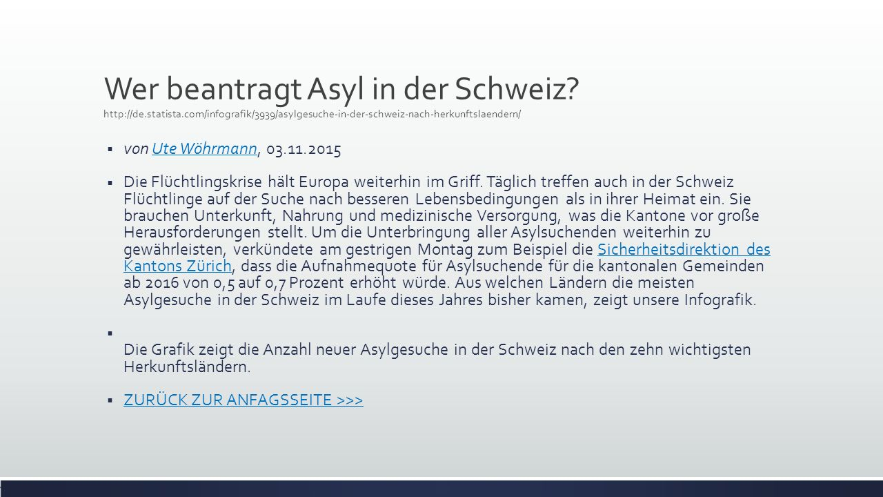 Wer beantragt Asyl in der Schweiz.