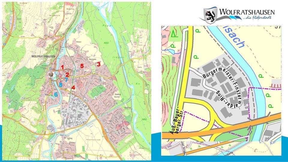 Mögliche Flächen in Wolfratshausen zur kurzfristigen oder längerfristigen Unterbringung von Flüchtlingen 1 3 2 4 1 Bahnhofstraße 9 2 Sauerlacher Str.