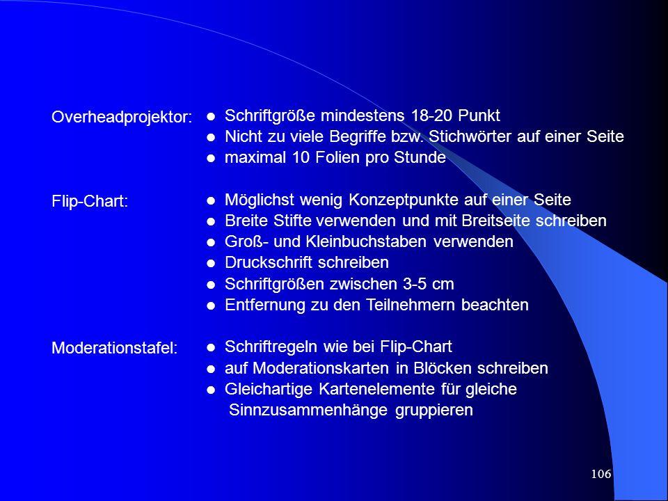 106 Overheadprojektor: Flip-Chart: Moderationstafel: l Schriftgröße mindestens 18-20 Punkt l Nicht zu viele Begriffe bzw.
