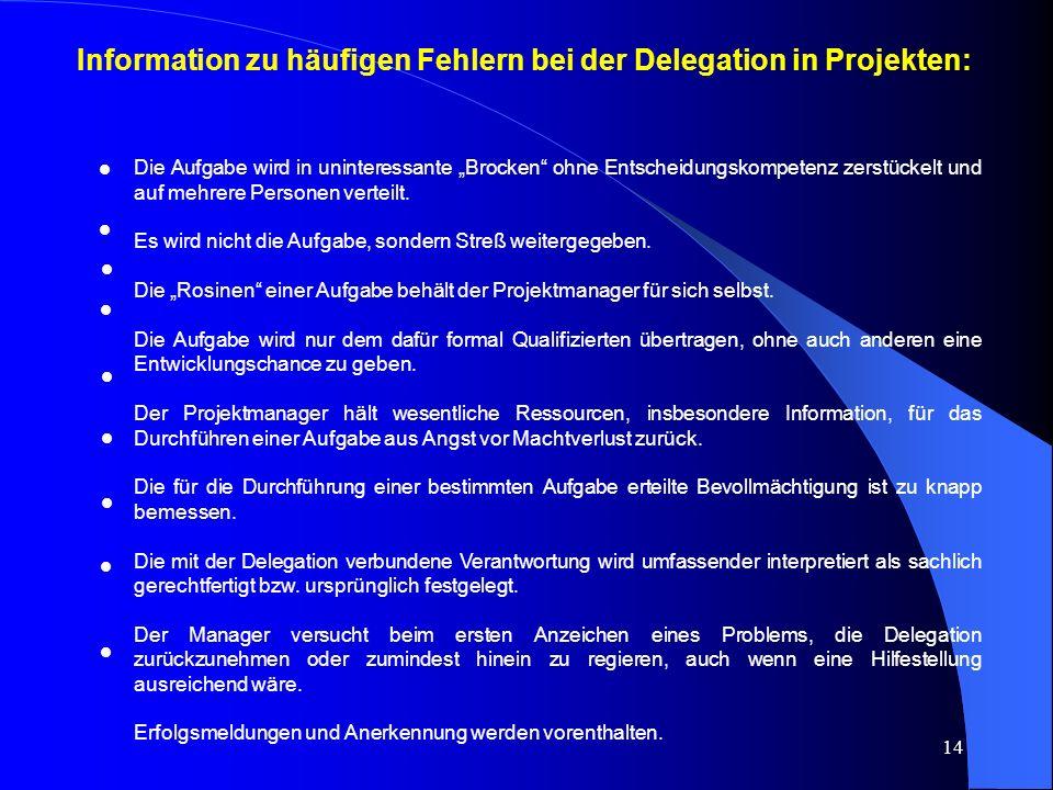 """14 Information zu häufigen Fehlern bei der Delegation in Projekten: Die Aufgabe wird in uninteressante """"Brocken ohne Entscheidungskompetenz zerstückelt und auf mehrere Personen verteilt."""