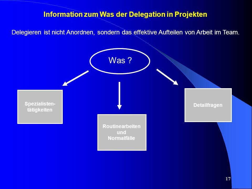 17 Information zum Was der Delegation in Projekten Delegieren ist nicht Anordnen, sondern das effektive Aufteilen von Arbeit im Team.