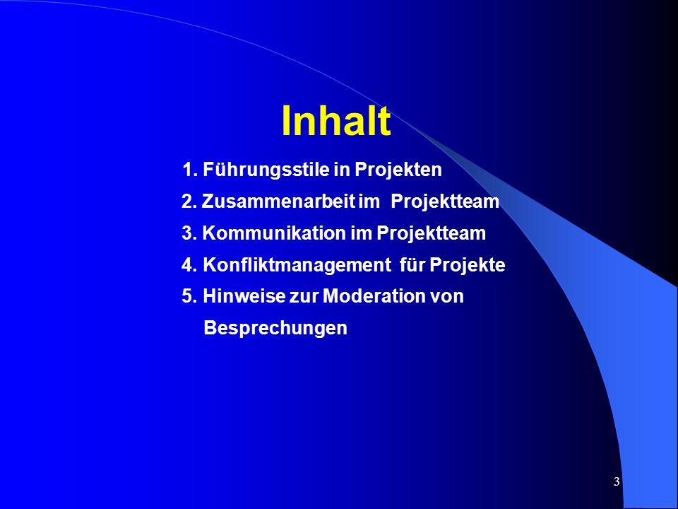 3 Inhalt 1.Führungsstile in Projekten 2. Zusammenarbeit im Projektteam 3.