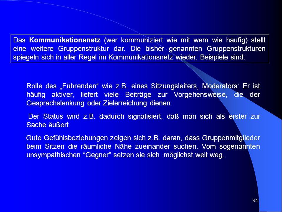34 Das Kommunikationsnetz (wer kommuniziert wie mit wem wie häufig) stellt eine weitere Gruppenstruktur dar.