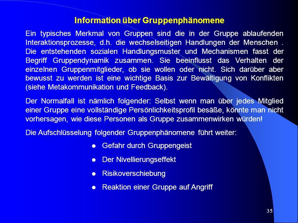 35 Information über Gruppenphänomene Ein typisches Merkmal von Gruppen sind die in der Gruppe ablaufenden Interaktionsprozesse, d.h.
