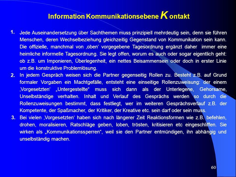 60 Information Kommunikationsebene K ontakt 1.