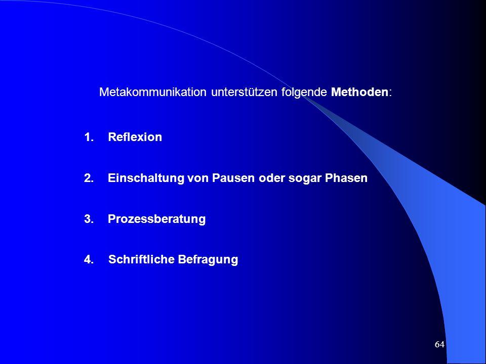 64 Metakommunikation unterstützen folgende Methoden: 1.