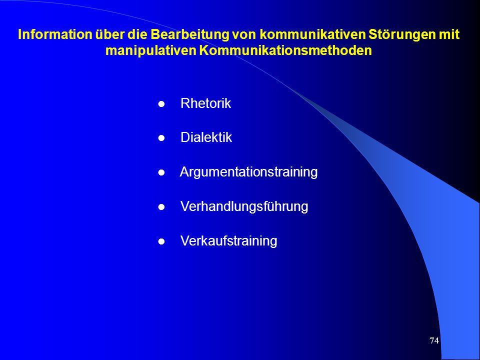 74 Information über die Bearbeitung von kommunikativen Störungen mit manipulativen Kommunikationsmethoden l Rhetorik l Dialektik l Argumentationstraining l Verhandlungsführung l Verkaufstraining