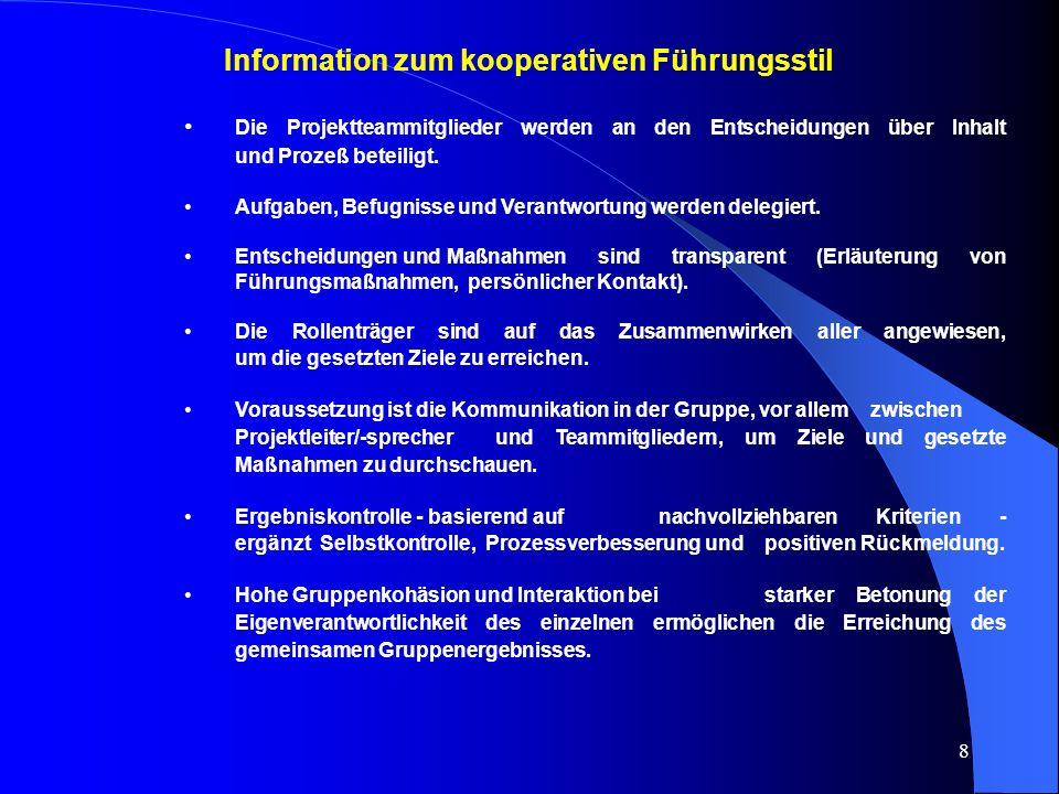 8 Information zum kooperativen Führungsstil Die Projektteammitglieder werden an den Entscheidungen über Inhalt und Prozeß beteiligt.