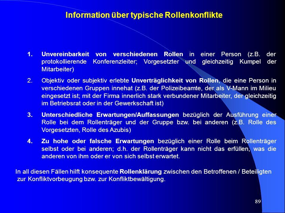 89 1.Unvereinbarkeit von verschiedenen Rollen in einer Person (z.B.