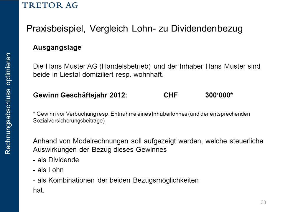 Rechnungsabschluss optimieren 33 Praxisbeispiel, Vergleich Lohn- zu Dividendenbezug Ausgangslage Die Hans Muster AG (Handelsbetrieb) und der Inhaber H