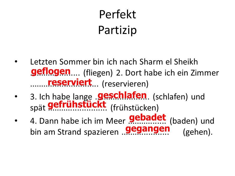 Perfekt Partizip Letzten Sommer bin ich nach Sharm el Sheikh...................... (fliegen) 2. Dort habe ich ein Zimmer..............................