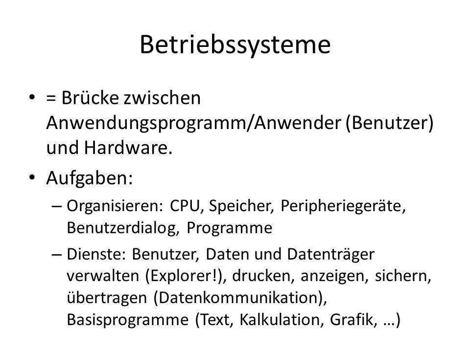 Betriebssysteme = Brücke zwischen Anwendungsprogramm/Anwender (Benutzer) und Hardware. Aufgaben: – Organisieren: CPU, Speicher, Peripheriegeräte, Benu