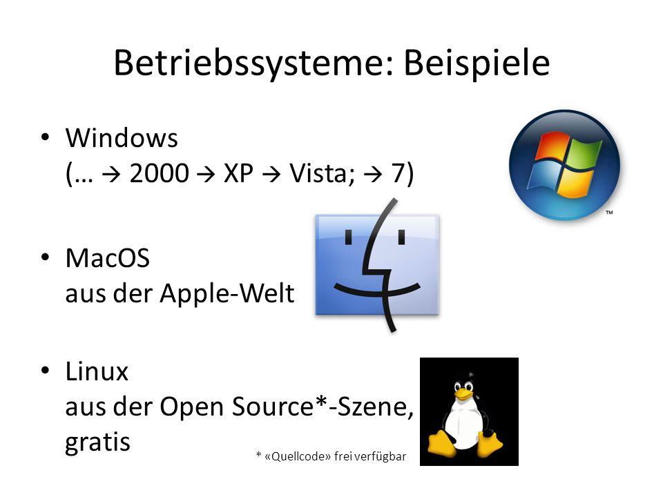 Betriebssysteme: Beispiele Windows (…  2000  XP  Vista;  7) MacOS aus der Apple-Welt Linux aus der Open Source*-Szene, gratis * «Quellcode» frei v