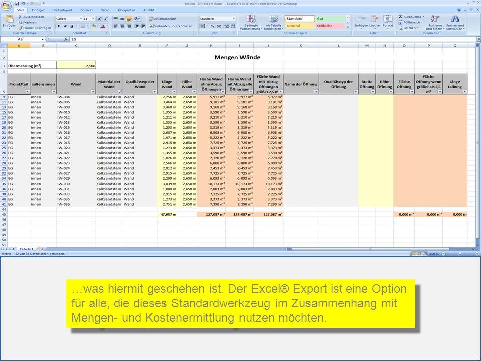 …was hiermit geschehen ist. Der Excel® Export ist eine Option für alle, die dieses Standardwerkzeug im Zusammenhang mit Mengen- und Kostenermittlung n