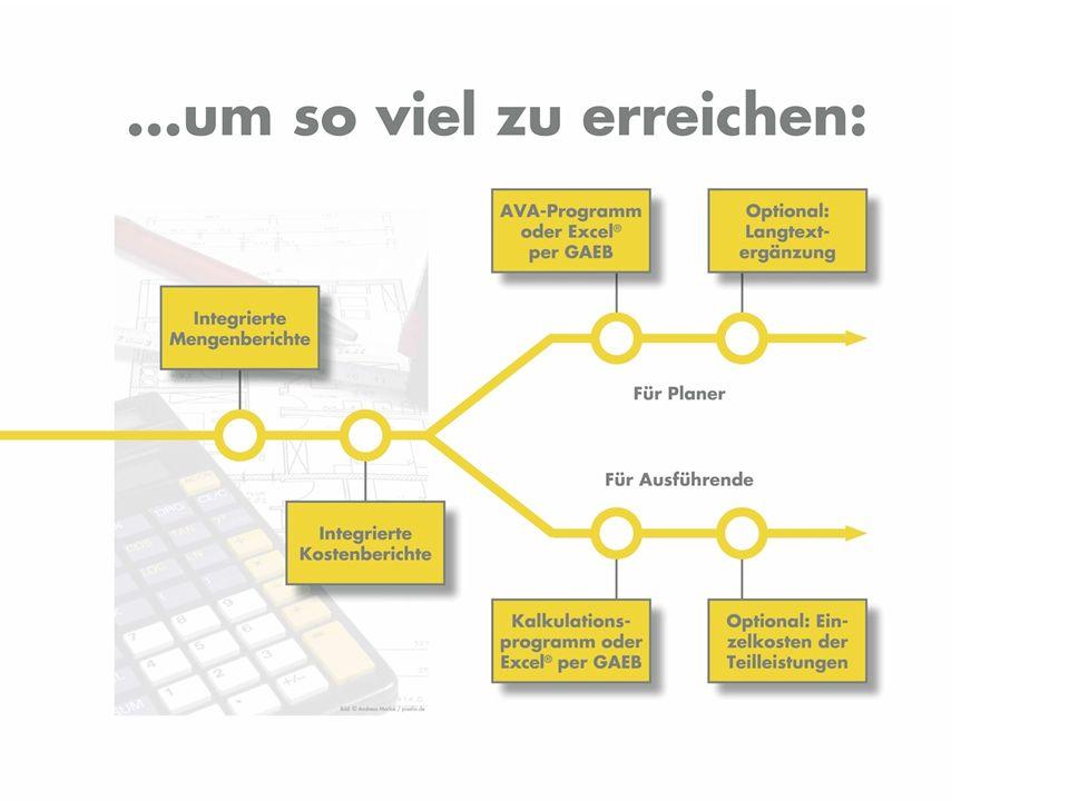 Diesen Bericht mit allen Bauleistungen und Preisen können Sie über GAEB an nahezu jedes AVA Programm übergeben, um dort z.B.
