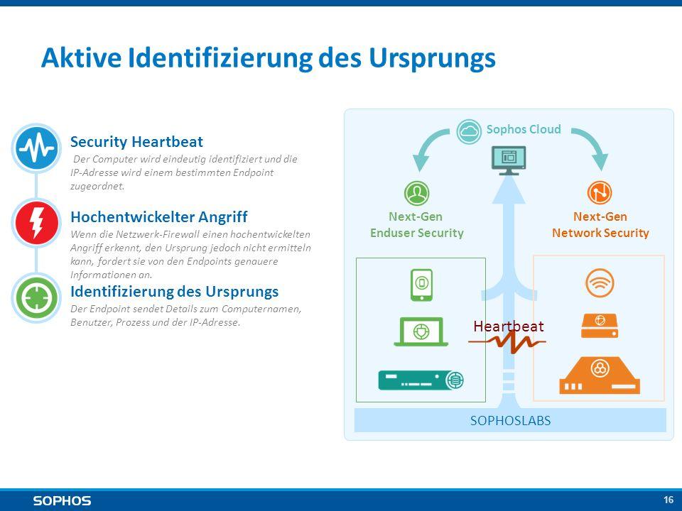 16 Aktive Identifizierung des Ursprungs Security Heartbeat Der Computer wird eindeutig identifiziert und die IP-Adresse wird einem bestimmten Endpoint