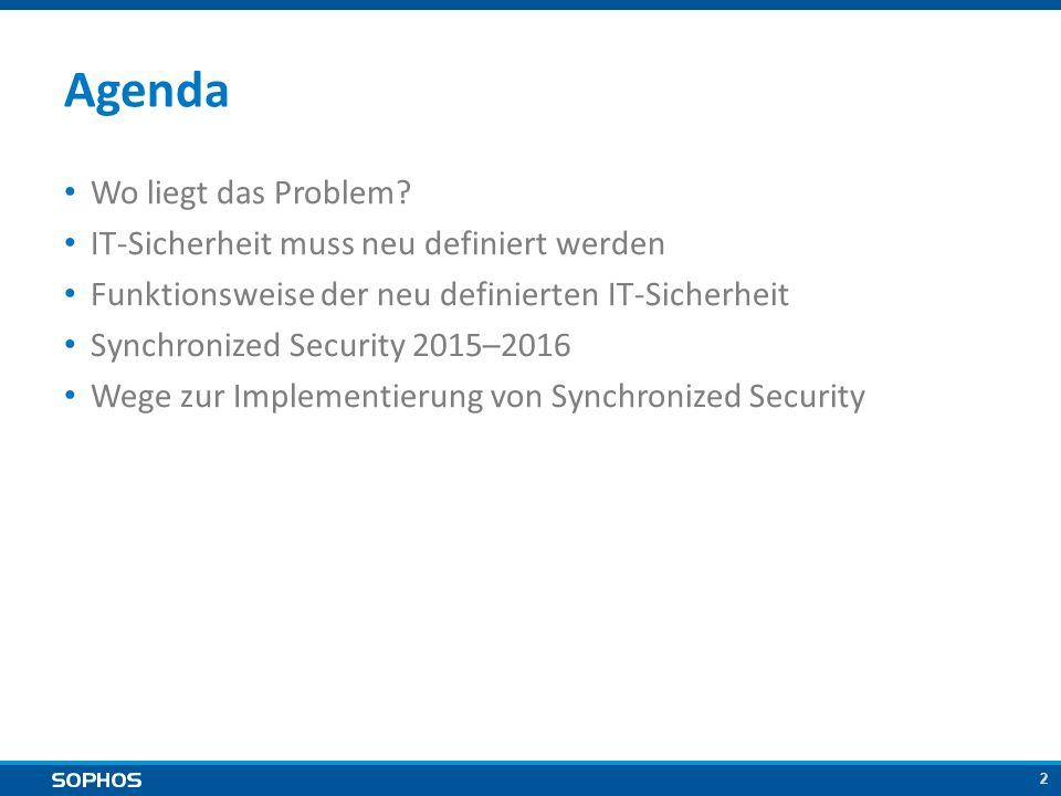 2 Agenda Wo liegt das Problem? IT-Sicherheit muss neu definiert werden Funktionsweise der neu definierten IT-Sicherheit Synchronized Security 2015–201