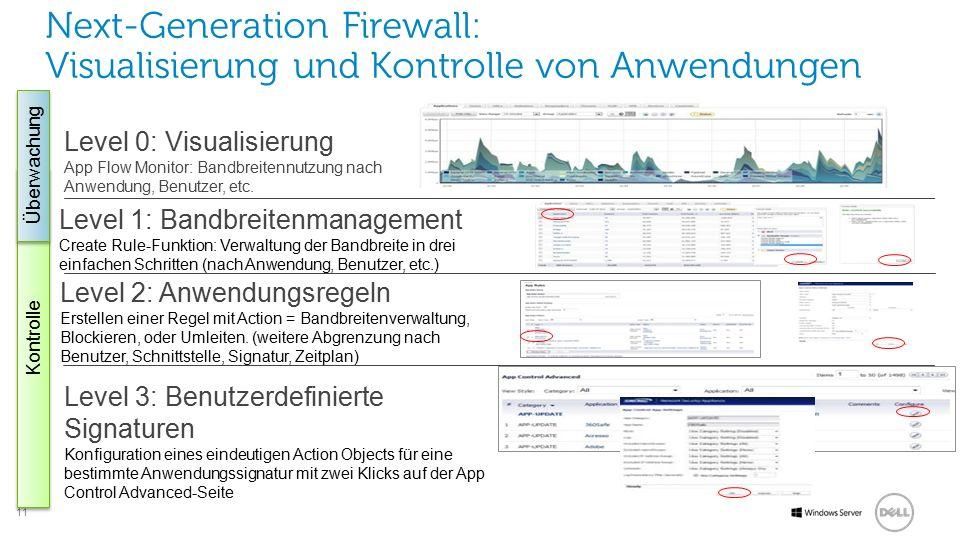 11 Software Level 0: Visualisierung App Flow Monitor: Bandbreitennutzung nach Anwendung, Benutzer, etc.