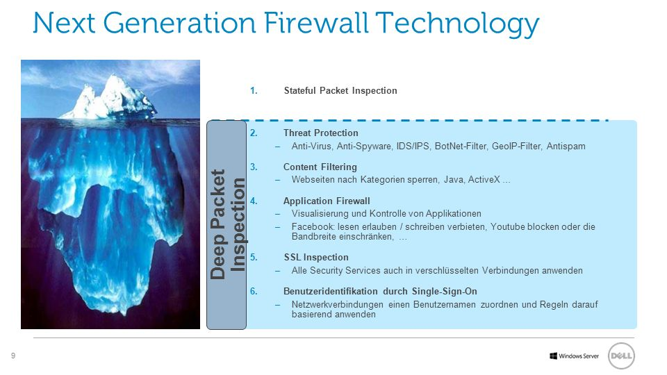 9 Software Next Generation Firewall Technology 1.Stateful Packet Inspection 2.Threat Protection –Anti-Virus, Anti-Spyware, IDS/IPS, BotNet-Filter, Geo