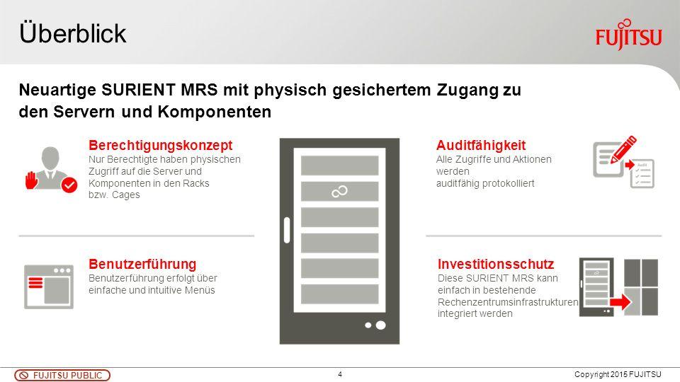 4 FUJITSU PUBLIC Copyright 2015 FUJITSU Neuartige SURIENT MRS mit physisch gesichertem Zugang zu den Servern und Komponenten Überblick Investitionssch